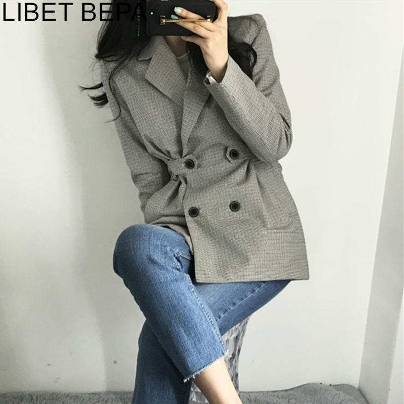 2019 Autumn Winter Fashion Blazer Jacket Women Suit Plaid Long Sleeve Slit Elegant Double Breasted Outerwear Female Ladies JK152