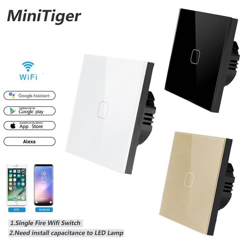 Touch Switch Smart Home Light Switch Wall Interruptor 1 Gang 1 Way Wifi Light Switch EU Standard Work With Alexa Google Home