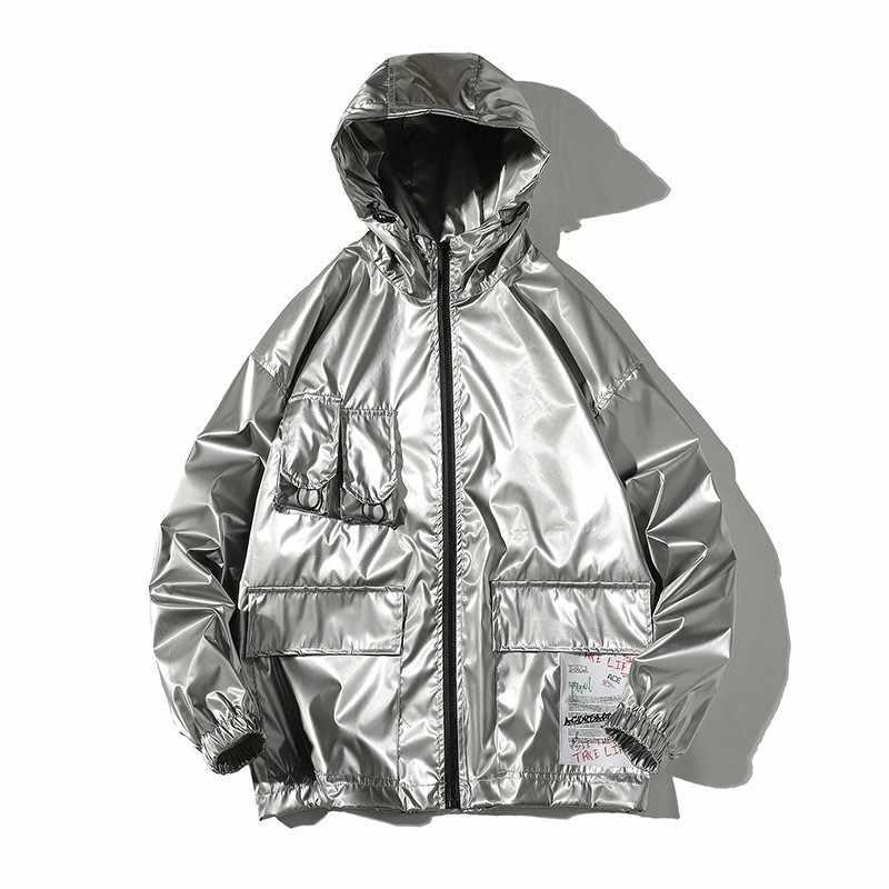 High street men prata solto ajuste hip hop jaqueta com capuz multi-bolso casual outwear casaco homem baggy streetwear jaqueta plus size 5xl