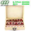 QQQ 12pcs6.35/8MM SHANK Router Bit Milling Cutter Wood Bits Tungsten Carbide Cutting Woodworking Trimming