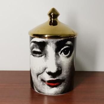 Lady Face Candle Holder Human Face Jar Candelabra Retro Storage Bin Ceramic Cafts Home Decoration Jewerlly Storage Box 8