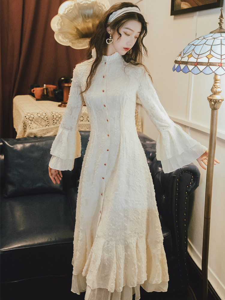 1016 # French GIRL'S Fu Gu Qun Waist Hugging First Love Elegant Petal Fishtail Skirt Palace Style Non-mainstream Dress