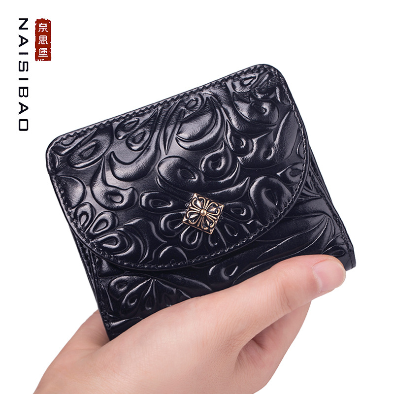 Wallet Women's Short 2019 New Style Mini Leather Wallet Retro WOMEN'S Leather Purse Mini Purse Wallet