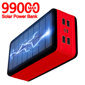 99000mAh Solar Power Bank Portable Charger Large Capacity LED Waterproof Outdoor Poverbank for Iphone Xiaomi Samsung