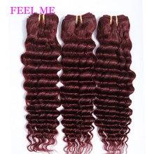 FEELME 99j Deep Wave Human Hair Bundles 1PCS Malaysian Deep Wave Hair Bundles For Black Women Human Hair Extensions Red Wine