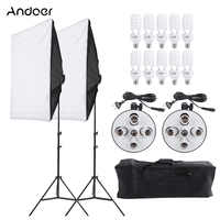 Photo Studio Video Lighting Kit Photography Light Stand Two 50 * 70cm Softbox Ten Bulbs Two Light Holder for Camera Photo