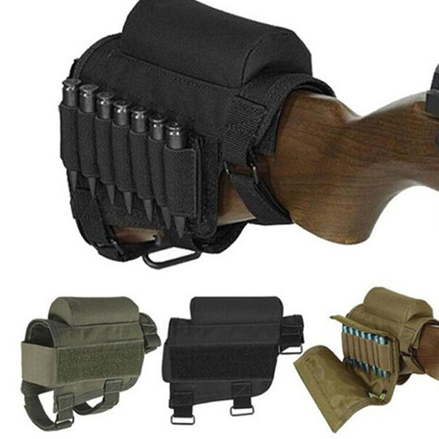 Tactical Rifle Cases Cheek Rest Riser Ammo Cartridges Hunting Carrier Canvas Pouch Round Cartridge Bag Shell Buttstock Ammo 1