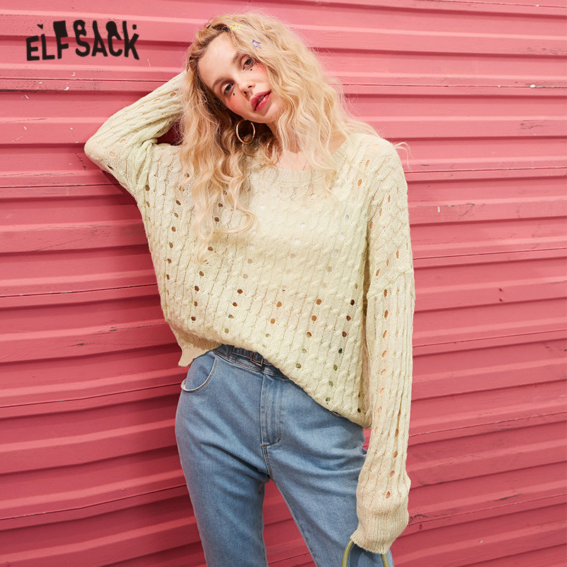 ELFSACK Multicolor Solid Minimalist Cut Out Casual Knit Pullover Sweater Women 2020 Spring Pure Long Sleeve Korean Ladies Top