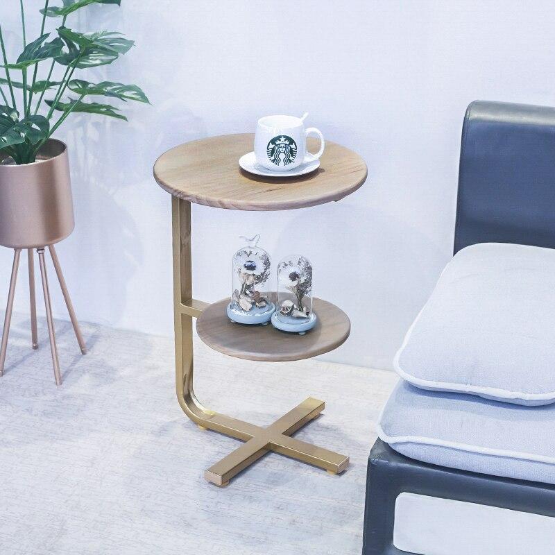 Mesa de sala de estar minimalista creativa Simple lado redondo de madera maciza Tieyijiao sofá dormitorio bandeja de lectura Mesa - 6