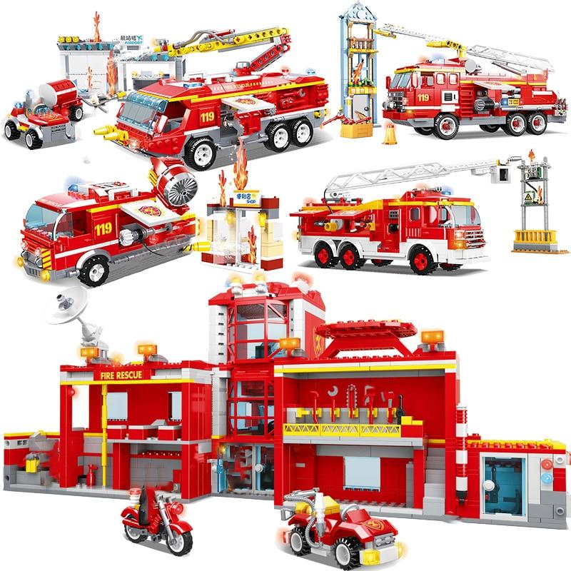 Cidade bombeiro fogo ponte motor escada caminhão define blocos de construção modelo tijolos kits criador resgate helicóptero carro veículo