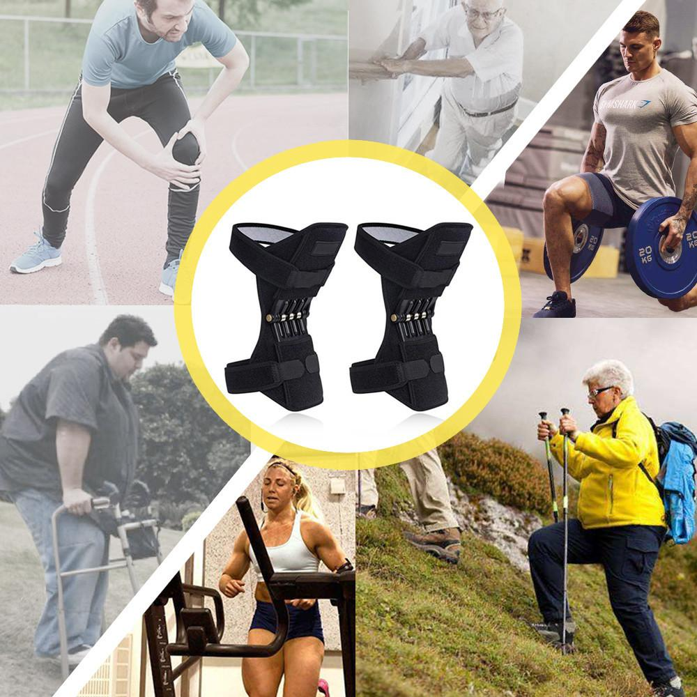 1 Pair Joint Support Knee Pads Breathable Non slip Power Joint Support Knee Pads Powerful Rebound Spring Force Knee Booster in Elbow Knee Pads from Sports Entertainment