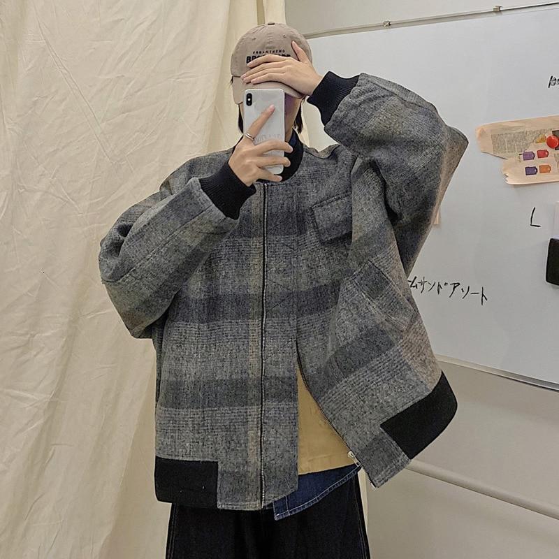 Зимняя утолщенная шерстяная куртка, Мужская тонкая теплая Модная ретро Повседневная клетчатая куртка, Мужская Уличная бейсбольная куртка
