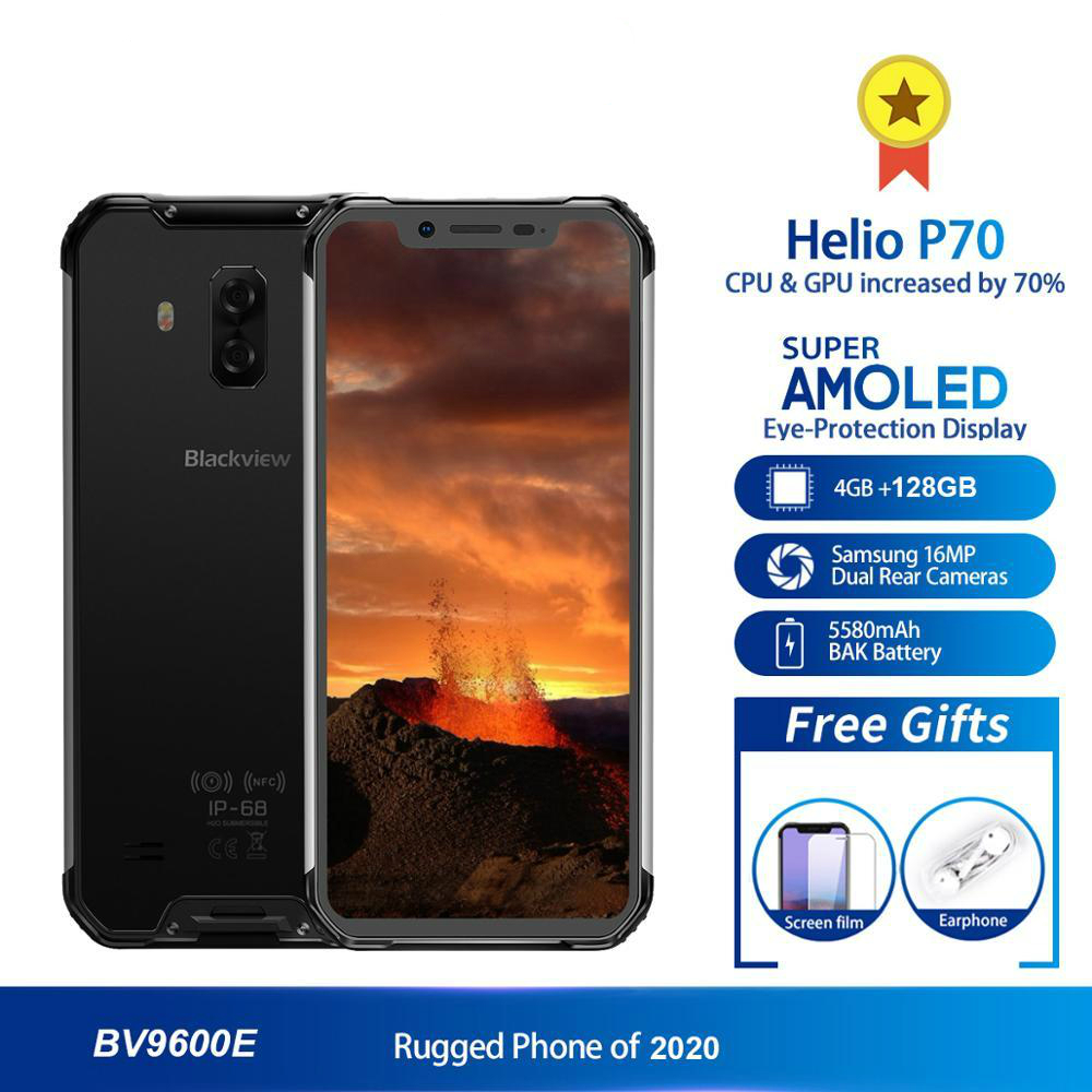 Blackview BV9600E New Waterproof shockproof Mobile Phone 4GB + 128GB Helio P70 Android 9.0 6.21 inch 5580mAh Rugged Smartphone