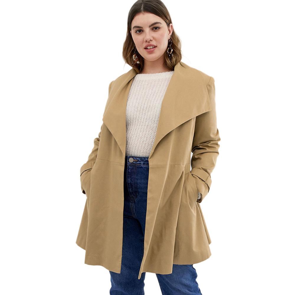 HDY femmes Trench grande taille hiver 2019 grande taille coupe-vent vestes Long survêtement surdimensionné Streetwear dame manteaux kaki