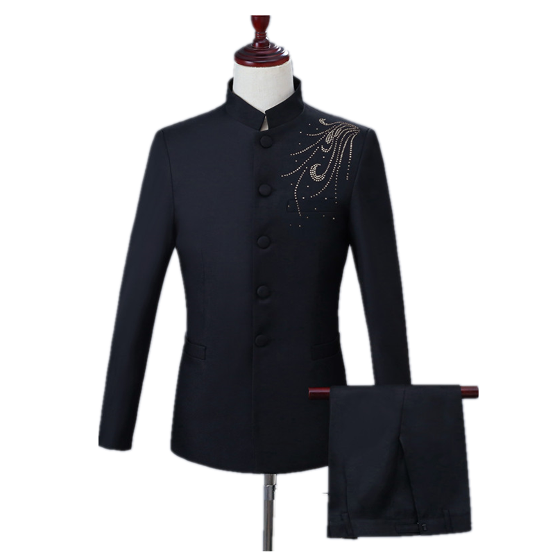 Men's Classic Casual Chinese Suit Slim Stand-up Collar Unilateral Diamond Adorned Black Chinese Tunic Suit Business Banquet Set