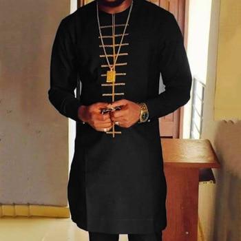 Moroccan Caftan Men Shirt Black Islam Muslim Print Round Neck Long Sleeve Mid-Length Casual Color Block Men's Clothing Tops 2021 Summer 1
