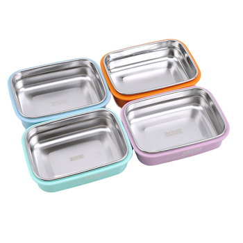 Szczelne dzieci Bento pudełko na lunch pojemnik na jedzenie pudełko jednokolorowe pudełko na lunch dla dzieci pojemnik Bento ze stali nierdzewnej