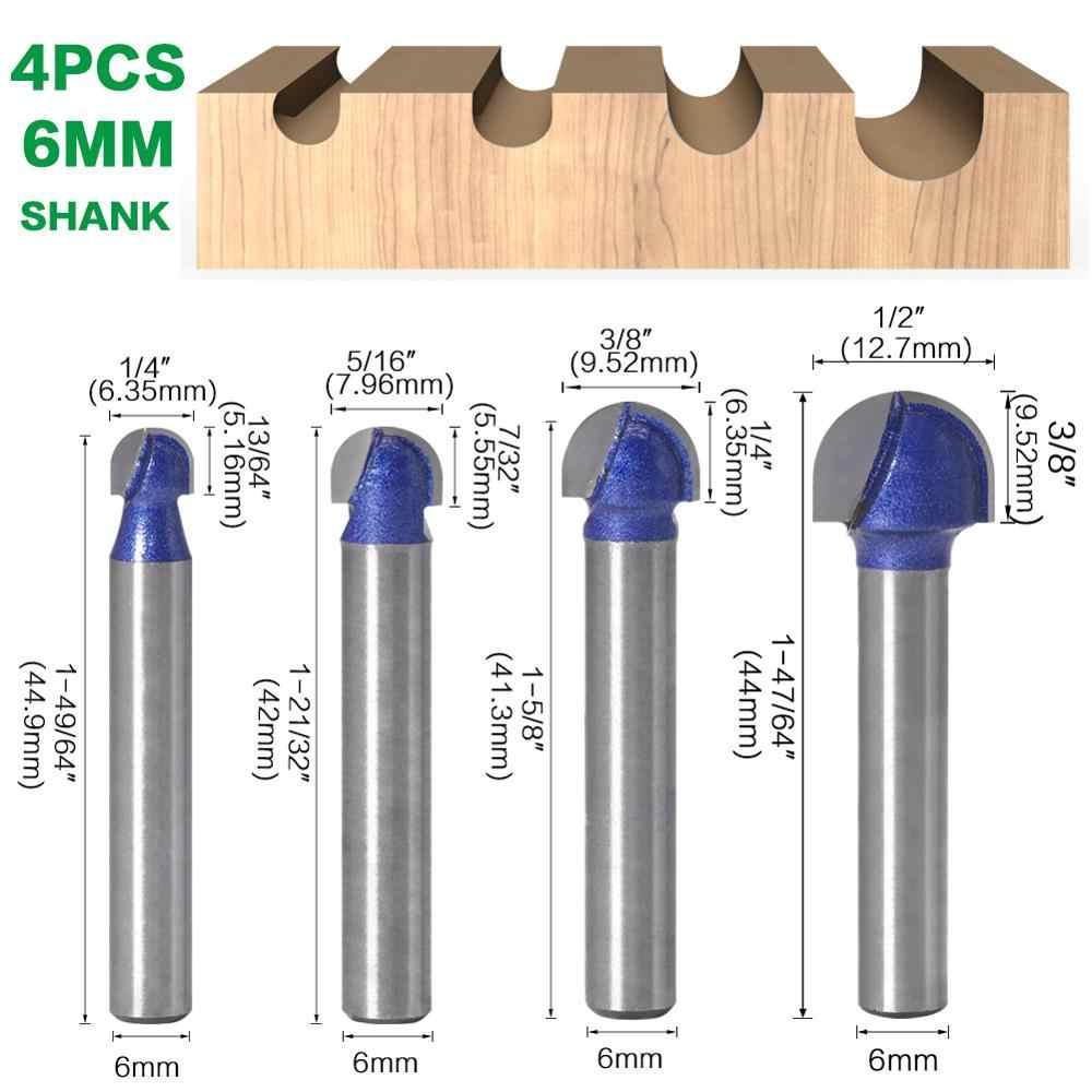 1 Chiếc 1/4 ″Shank 6 Mm Vỏ Đẳng Cấp Chuyên Nghiệp Bóng Mũi Router Bit Bộ Cấp Cối Xay Tròn Cove Hộp Chắc Chắn cacbua CNC Bán Kính Core Cối Xay