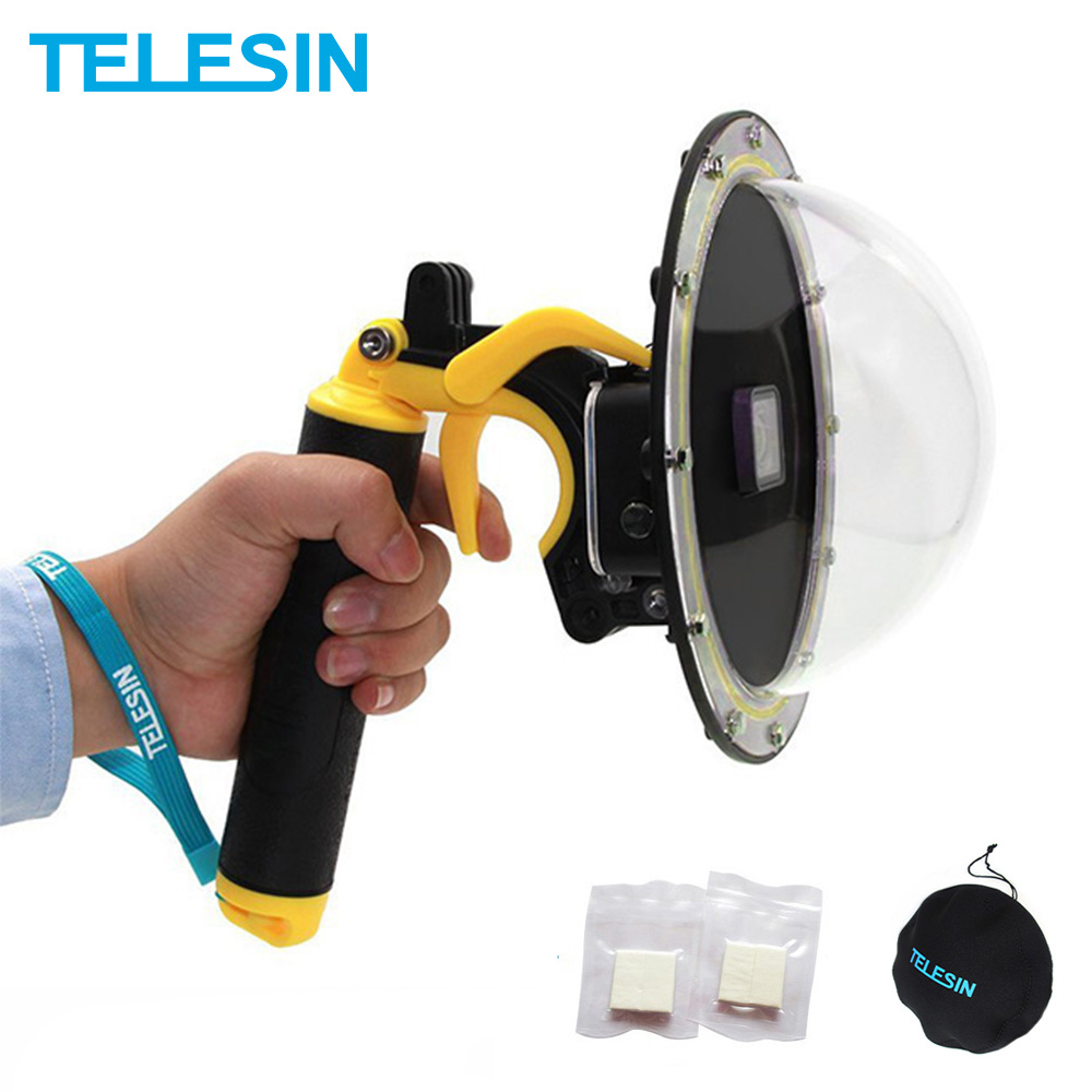 TELESIN 6'' Dome Port 30M Waterproof Case Housing for GoPro Hero 5 Black 6 7 Hero 8 3