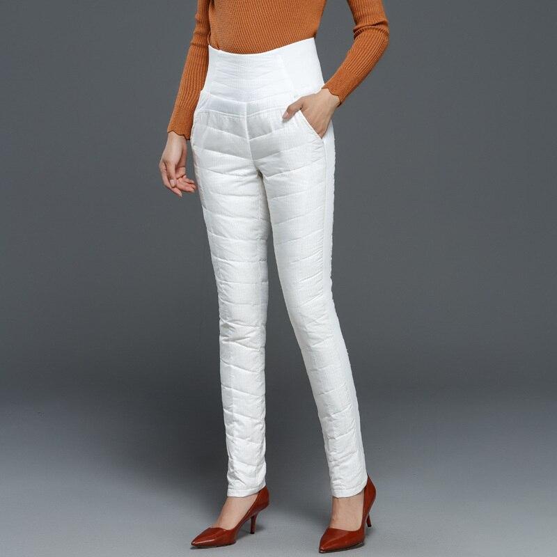 Winter Down Pants Women High Waist Elastic Cotton Thin White Duck Down Pencil Pants For Women Female Trousers Casual