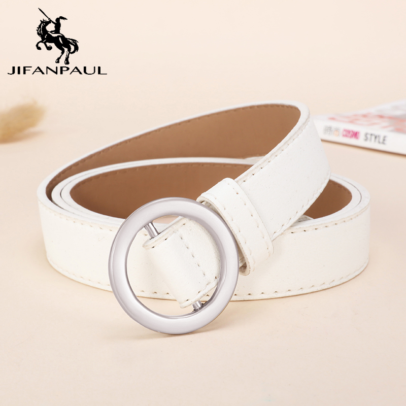 JIFANPAUL Genuine Leather Women's Belt Round Fashion Metal Buckle Retro Punk Student Youth Jeans Decoration Belts For Women New