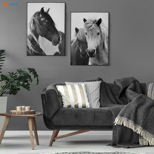 Canvas Painting Posters Horse Nordic-Decoration Living-Room Wall-Pictures Prints Black