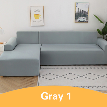 2Pcs Sofa Cover for Living Room Couch Cover Elastic L Shaped Corner Sofas Covers Stretch Chaise Longue Sectional Slipcover - Light Gray, 3-Seat and 3-Seat