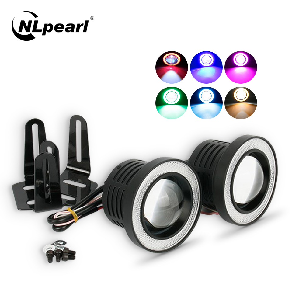 Nlpearl 2x 30W DRL LED COB Angel Eyes Fog Lights Car Running Lights 12V 2.5 3.0 3.5 Inch White Spotlight LED Fog Lamp Assembly