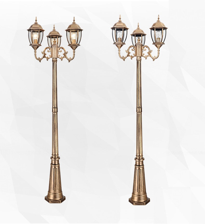 Aluminum Glass Classical Outdoor Lamp Post Garden Lights Led Exterior Park Road Lighting 2.5m 98''