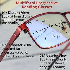 Image 2 - VANLOOK Progressive Multifocal Reading Glasses Computer For Men Women Sight Clear Adjustable Eyeglasses Red +1.0 1.5 2 2.5 3 3.5
