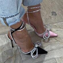 2020 New Hot Women Sandals Rhinestone Pointed Toe High Heels Wedding Dress