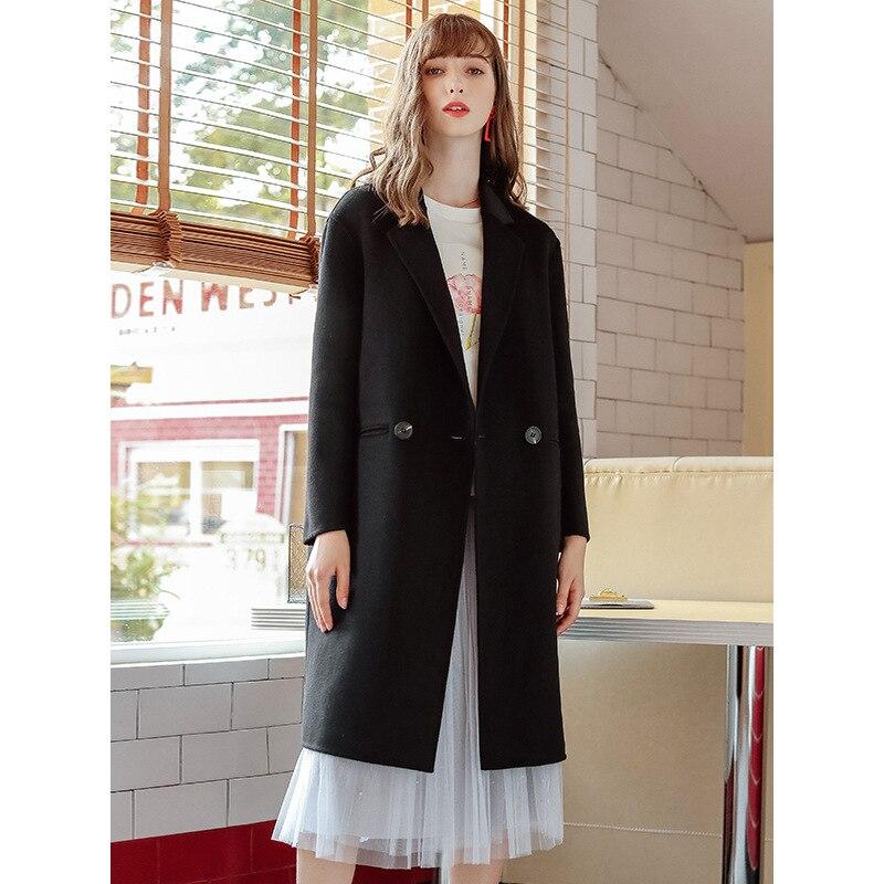 Moda 2019 nuevo otoño invierno abrigo de mujer solapa negro largo abrigo de lana Oficina señoras elegante estilo breve abrigo de lana ropa