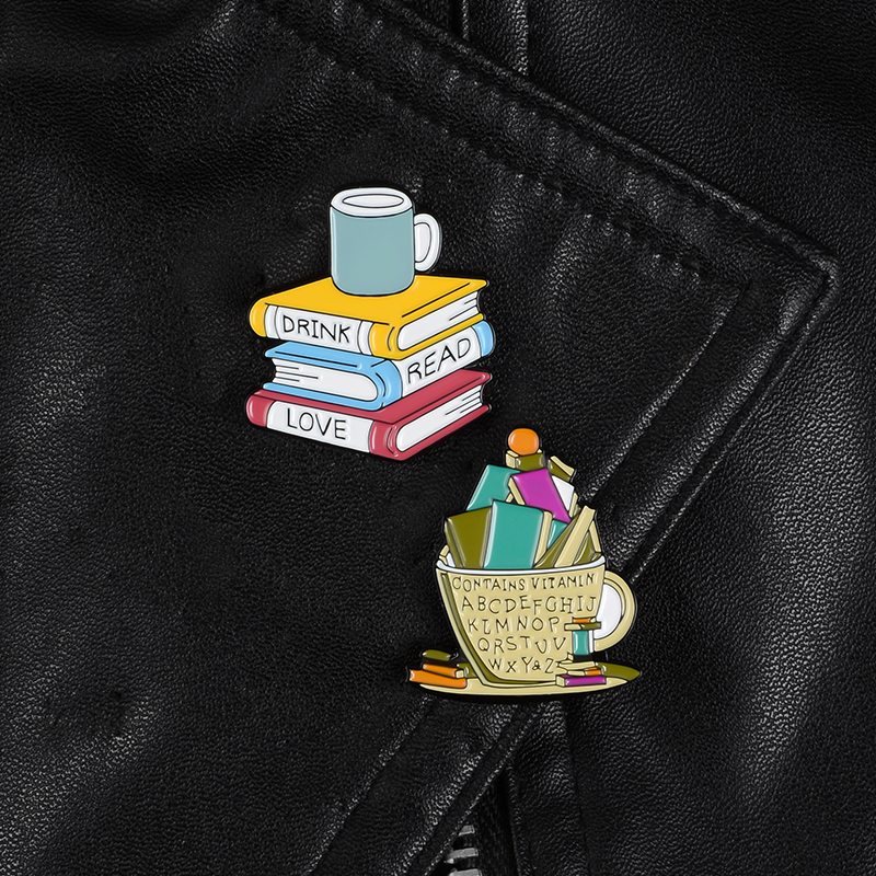 Books and Cup Enamel pins Love Reading Books Drink Coffee Brooches Reader Bookworm Badges Funny Cartoon Jewelry Gift For Friends(China)
