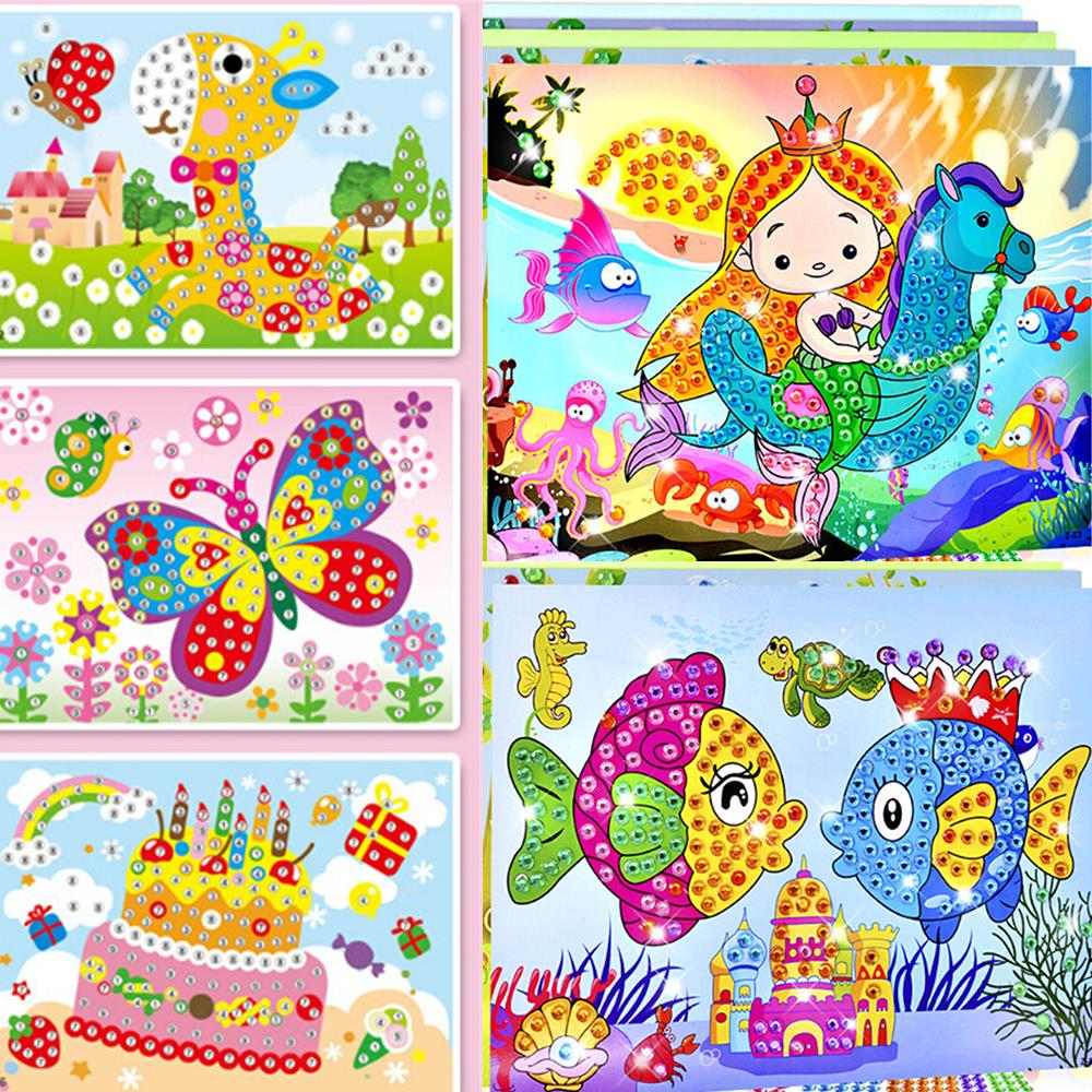 2 In 1 Diamond Coloring Drawing Sticker Handmade Cartoon DIY Toy Sets Painting Education Gift For Children Birthday Drawing Toy