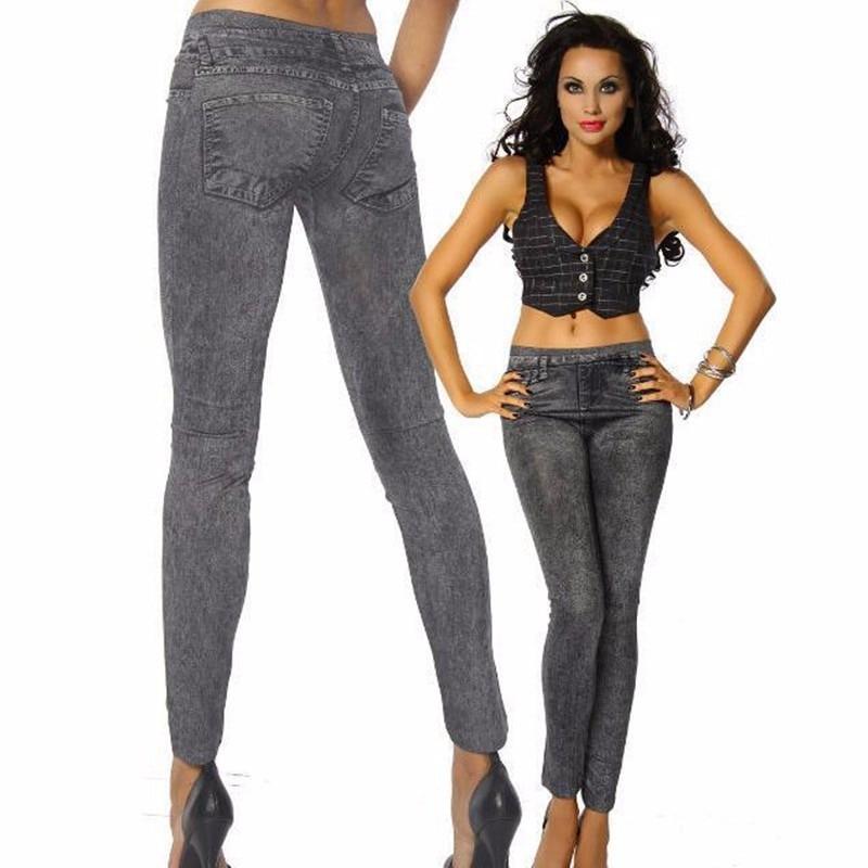 Women Leggins Pants   Legging   Imitation Jeans Pants Women Mid Waist Slim Fitness Leggin Elastic   Leggings   x