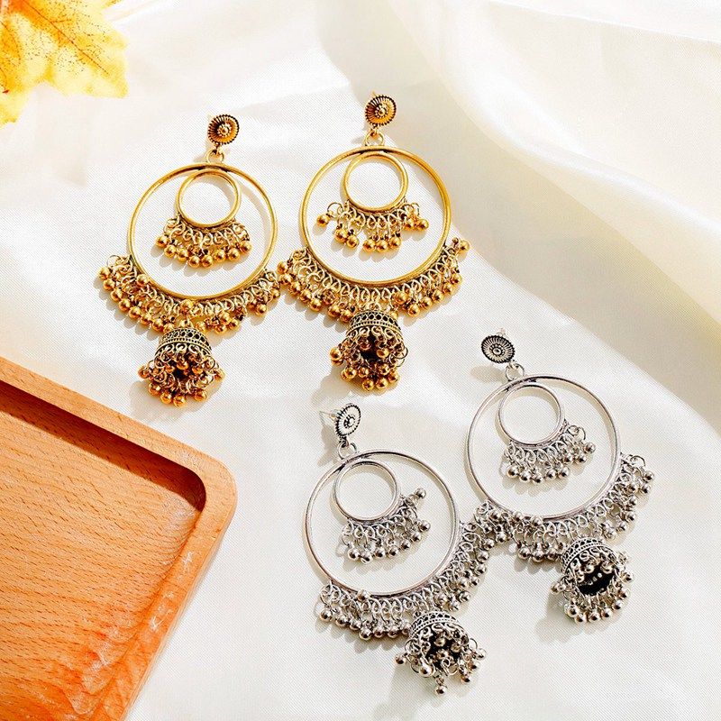 Hf9676d606f87464ab4ab9ca68e052211M - Antique Gold Boho Big Round Circle Gypsy Tribal Indian Drop Earrings For Women Vintage Bell Tassel Earring Womens Jewellery
