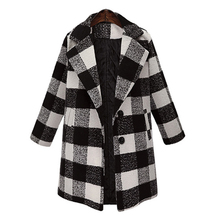 Outerwear Winter Clothing Plaid Lapel Woolen Coat Large Size Women's Woolen Coat Long Coat Women Wide-waisted Fashion New Cape coffee wide lapel side pocket design fashion coat