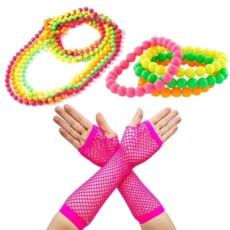 Women 1980/'s Fancy Dress Fingerless Fishnet Gloves Neon Long One Size Pack Of 3