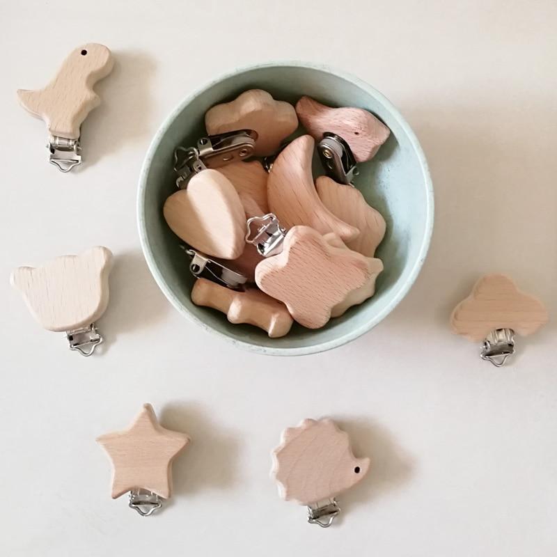 Chupeta de madeira para bebê 1 peça, presilhas para chupeta tipo faça você mesmo