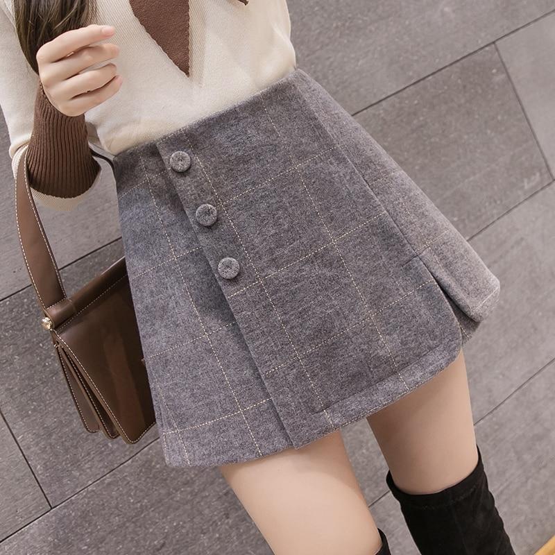 2019 Autumn Winter Women Woolen Shorts Skirts Korean Chic Single Breasted Plaid Wool Shorts Ladies Fashion Culottes