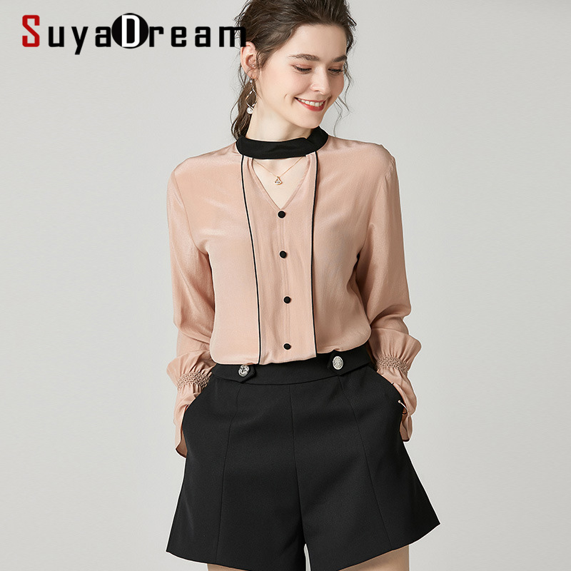 SuyaDream Women Solid Blouses 100%Silk Crepe 2020 Spring Long Sleeved V Neck Fashion Blouse Shirt