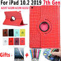 Funda giratoria de cocodrilo para iPad 10,2 2019 7th Generation A2197 A2200 A2198 A2232 activación inteligente Sleep Cover para iPad 10,2 + Film + Pen