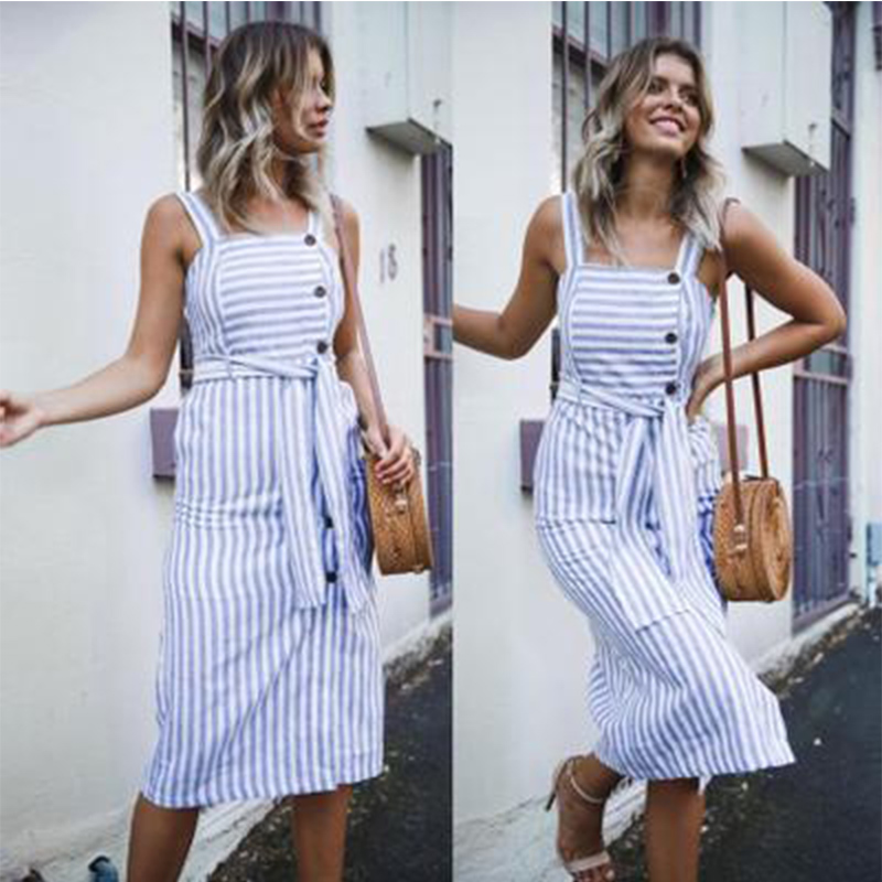 2020 Striped Stirching Backless Women Dress Casual Loose Plus Size Button Tunic Split Beach Party Sleeveless Summer Dresses