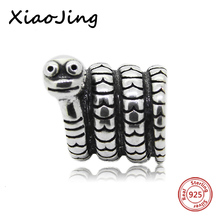 Fit Authentic Silver Pandora Bracelet 925 Original Charm Antique Beads mini snake animal European Jewelry Gifts