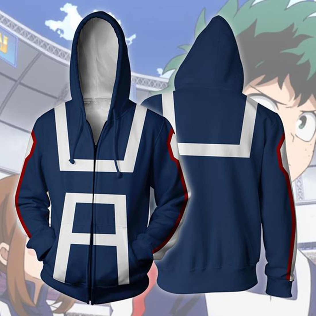 Sudadera con Capucha De Impresi/ón Digital 3D My Hero Academia para Hombre Sudadera De Anime Cosplay Hoodie Y Cremallera Boku No Hero