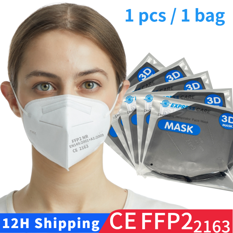 Máscara ffp2 única embalagem, máscara protetora preta kn95, filtro de boca de segurança reutilizável fpp2, mascherina ffpp2, máscara aprovada higiênica do ce