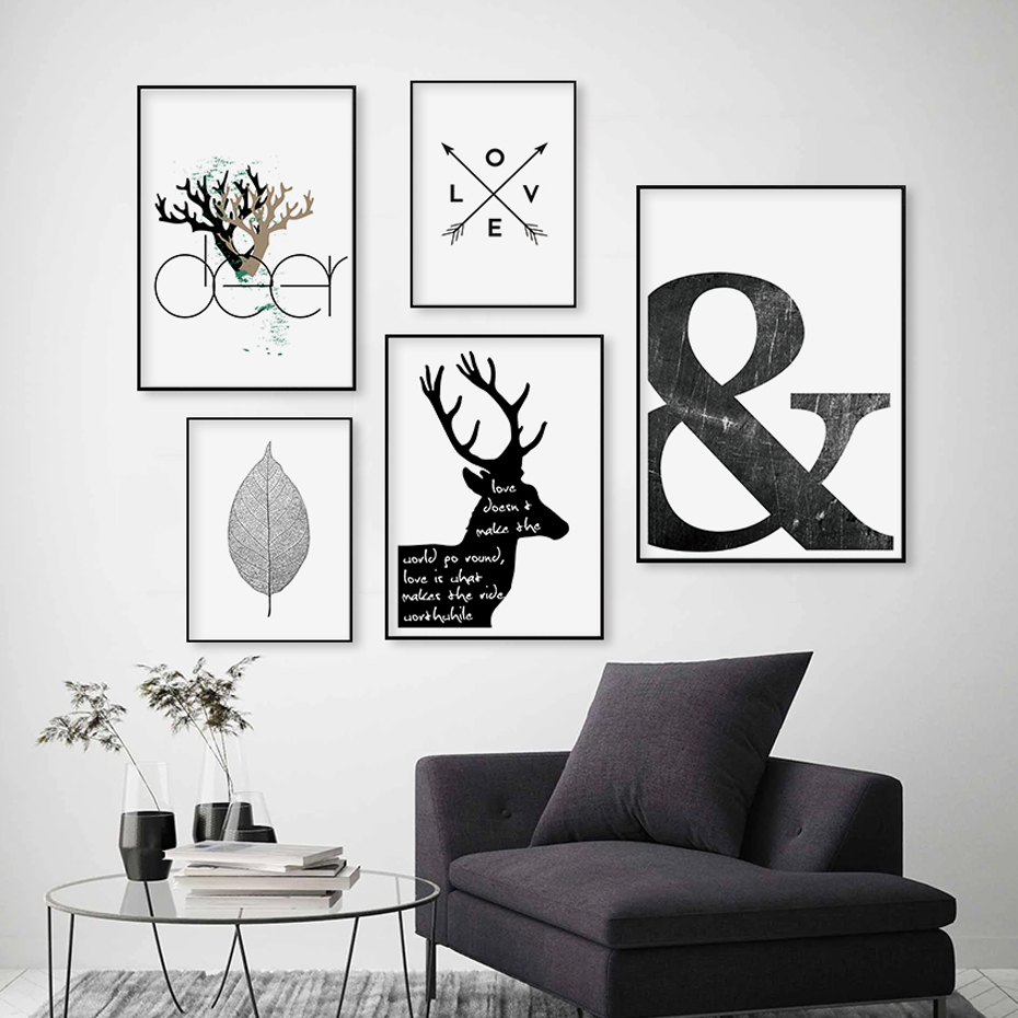 Nordic Abstract Canvas Paintings Scandinavia Deer Love Symbol Wall Art Pictures Poster Print Gallery For Living Room Home Decor
