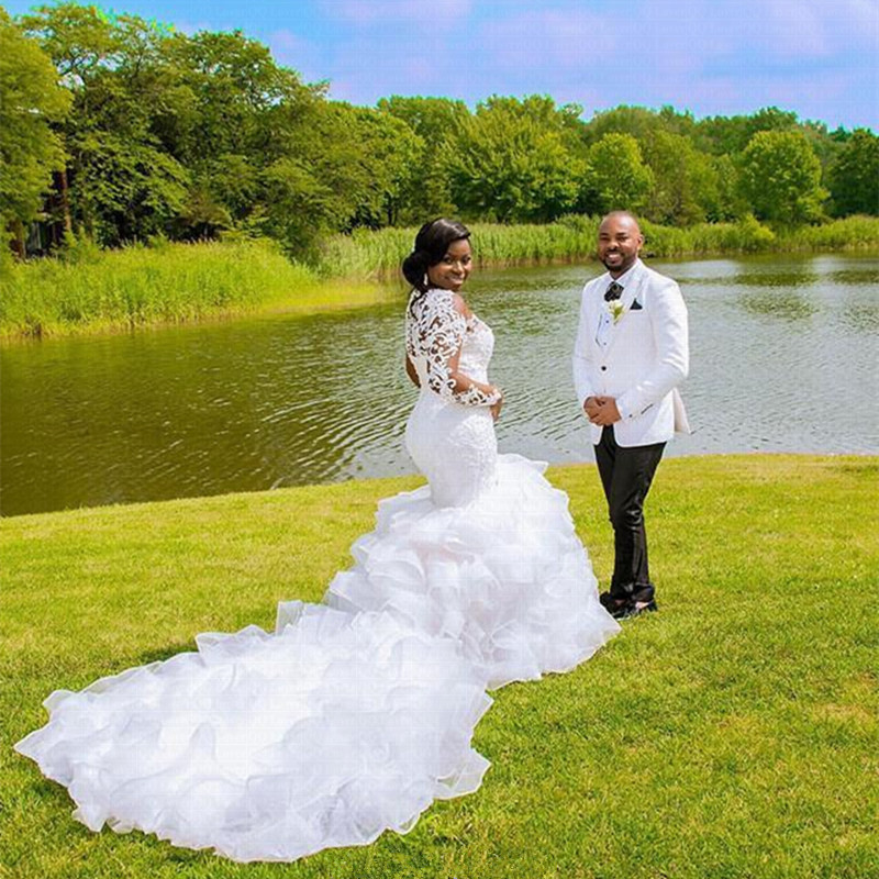 Sheer Ruffles Cathedral Train Mermaid Wedding Dresses 2020 Lace Beaded Plus Size African Wedding Gown