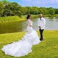 Sheer babados catedral trem sereia vestidos de casamento 2020 renda frisado plus size vestido de casamento africano