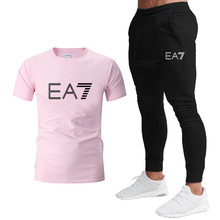 Men's short-sleeved cotton top, round neck cotton T-shirt, high quality, new EA7 summer casual T-shirt + pants two-piece sportsw